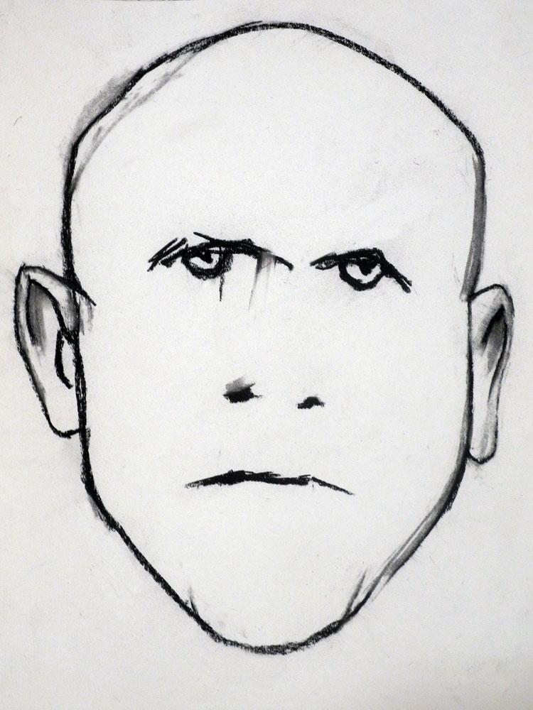 Untitled Paul Dodd charcoal drawing for Bill Jones