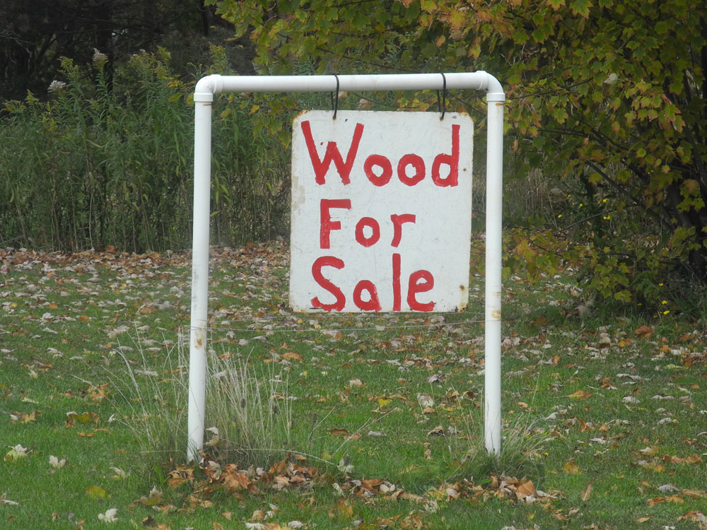 """""""Wood For Sale"""" Sign in the Adirondacks"""