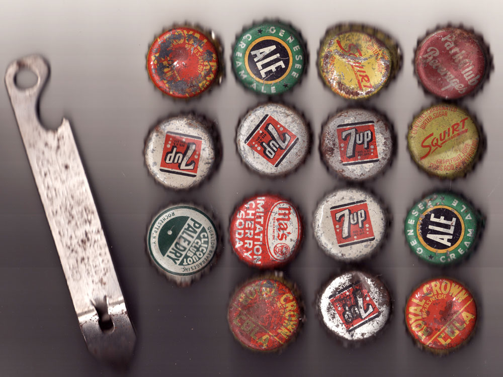 Pop bottle caps from basement w in our house