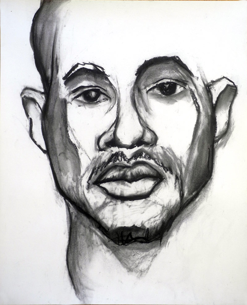 """Anonymous Model"" charcoal drawing by Paul Dodd 2012"