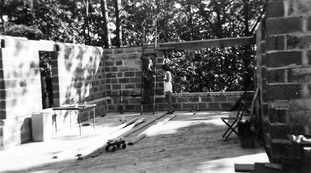 Clarence and Dottie building their Don Hershey designed house in 1947