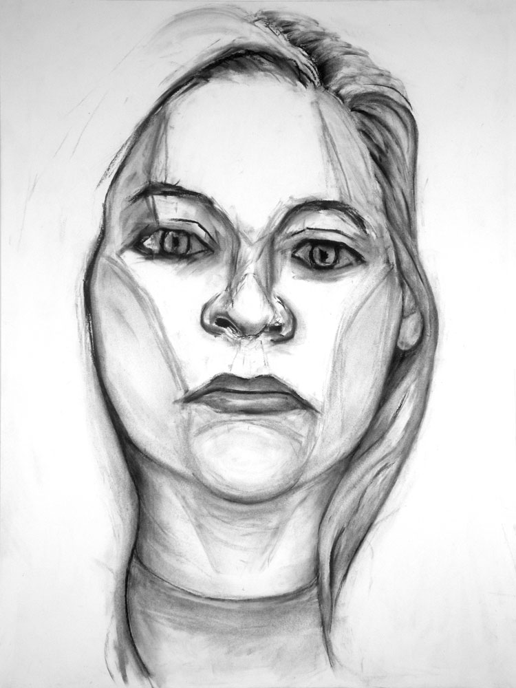 """Model From Local Crime Page"" charcoal drawing by Paul Dodd 2012"