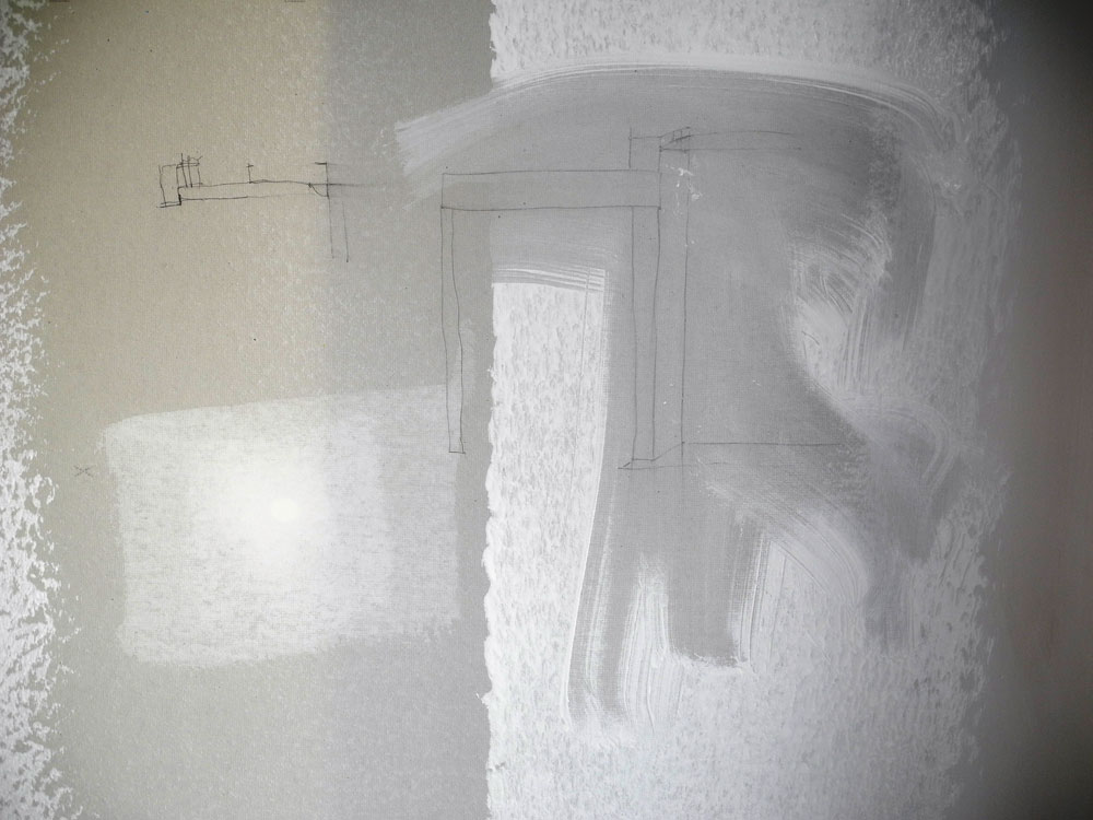 Pete Monacelli's drawing with Paul Dodd's painting on drywall