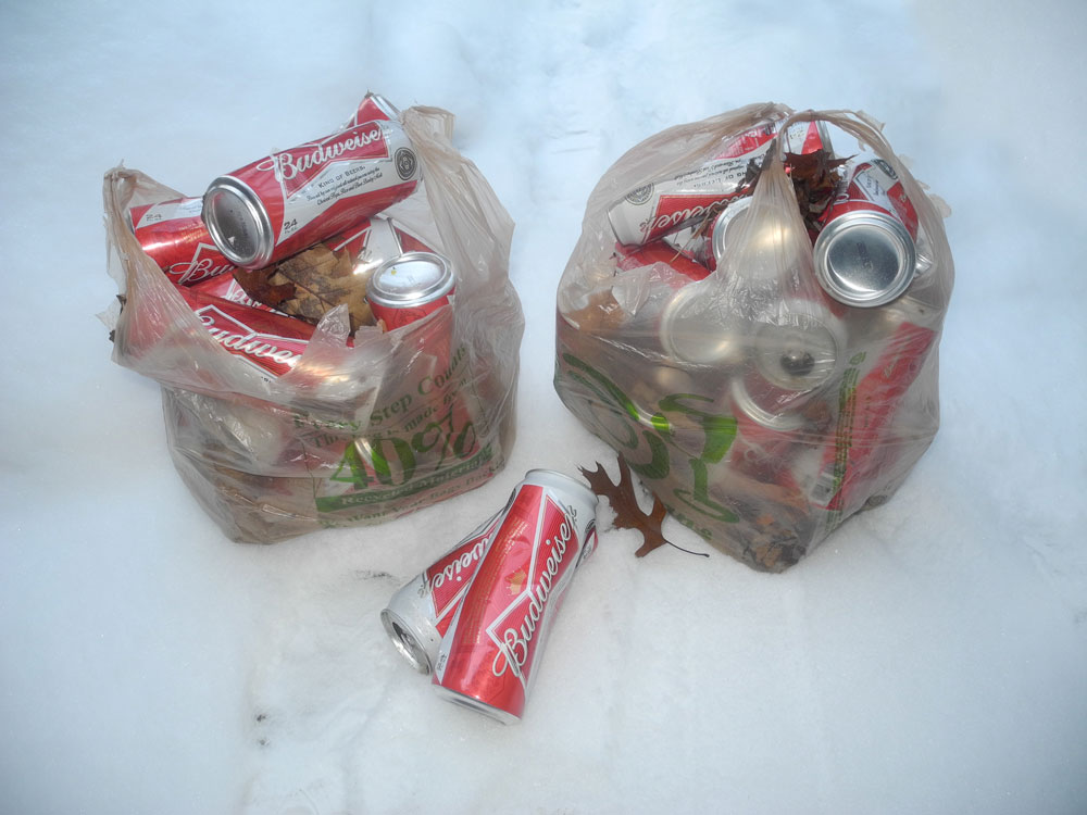 Big Budweiser cans in plastic bags