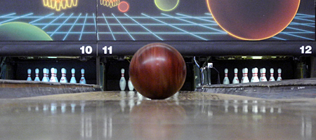 Bowling ball return at L&M Lanes on Merchants Road in Rochester, New York