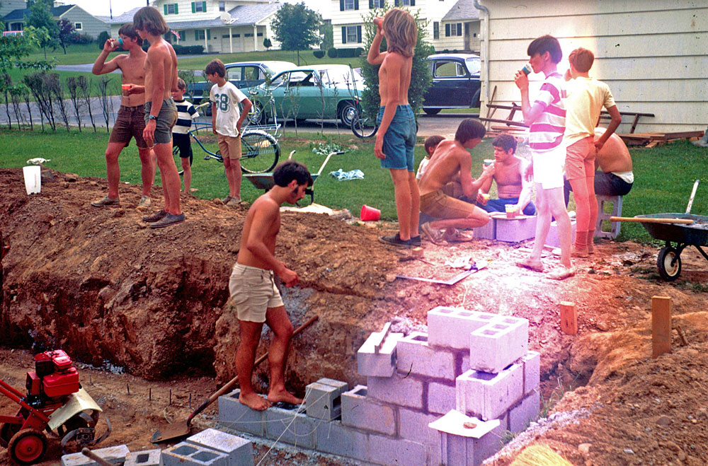 Dodd's swimming pool being constructed on Hawley Drive in Webster