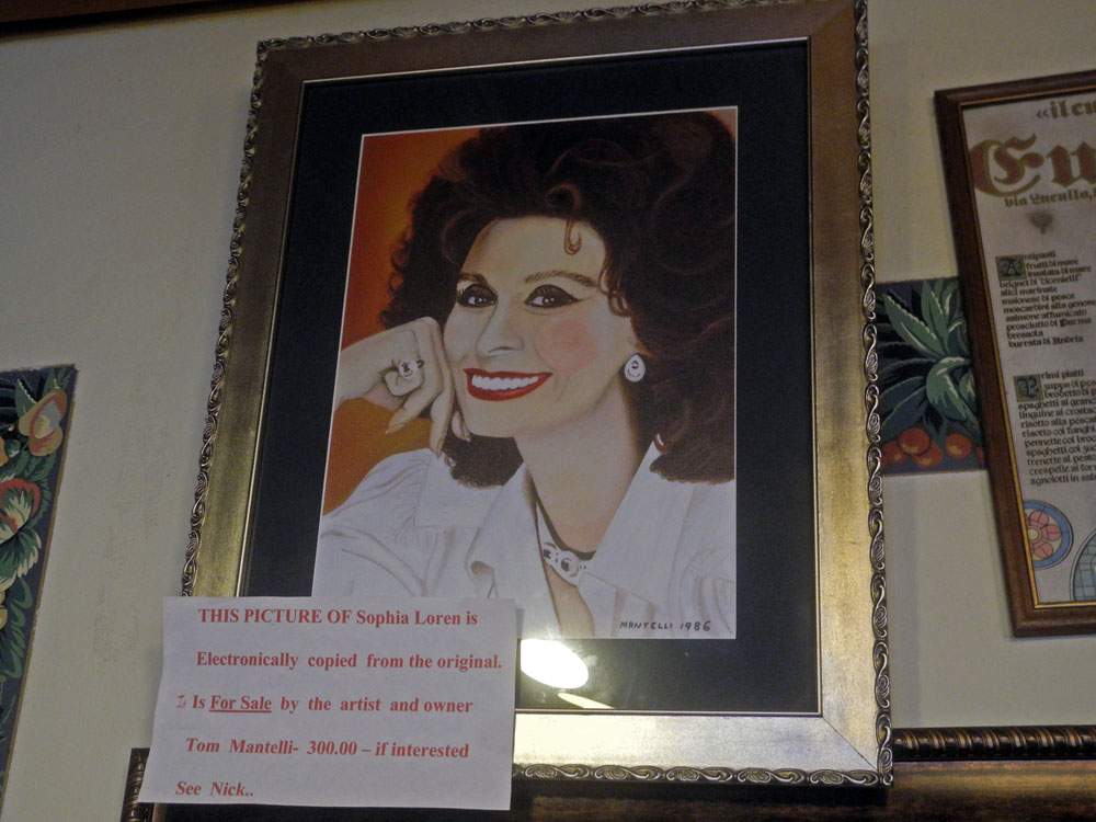 Copy of Sofia Loren painting at Nick's Sea Breeze Inn in Rochester, New York