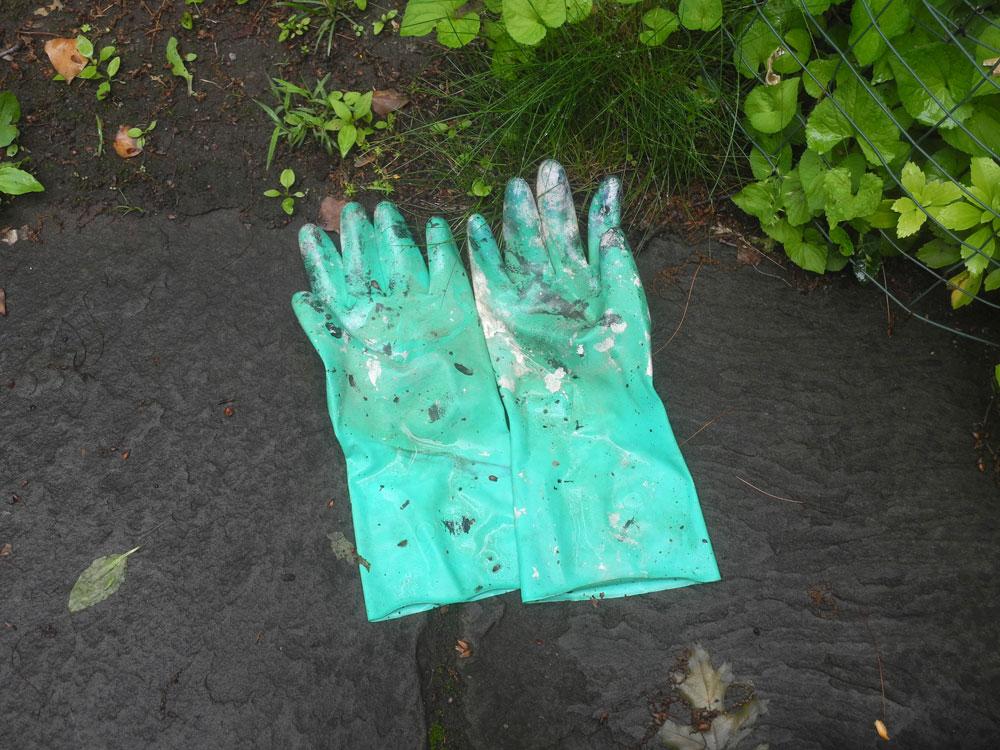 Green work gloves