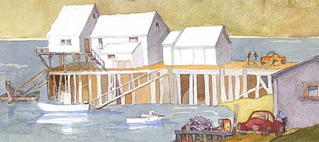 Leo Dodd watercolor entitled Maine Harbor Sketch