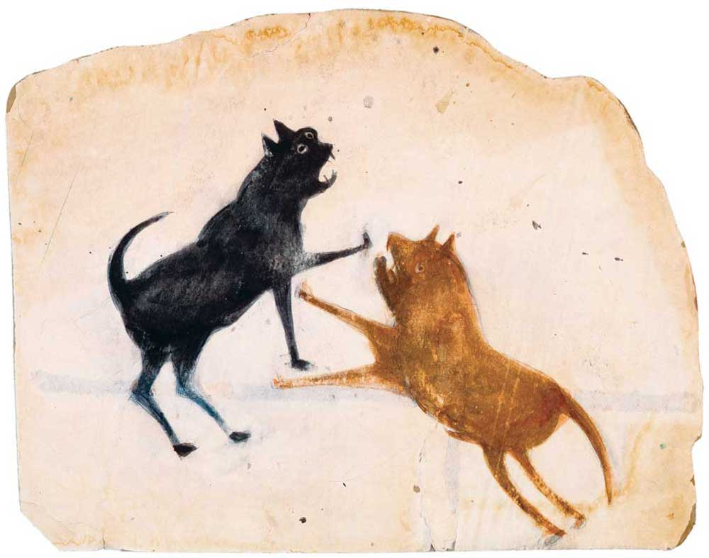 Bill Traylor Dog and Cat Fight
