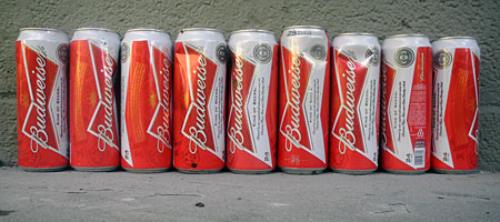 25 ounce Budweiser can in a line-up