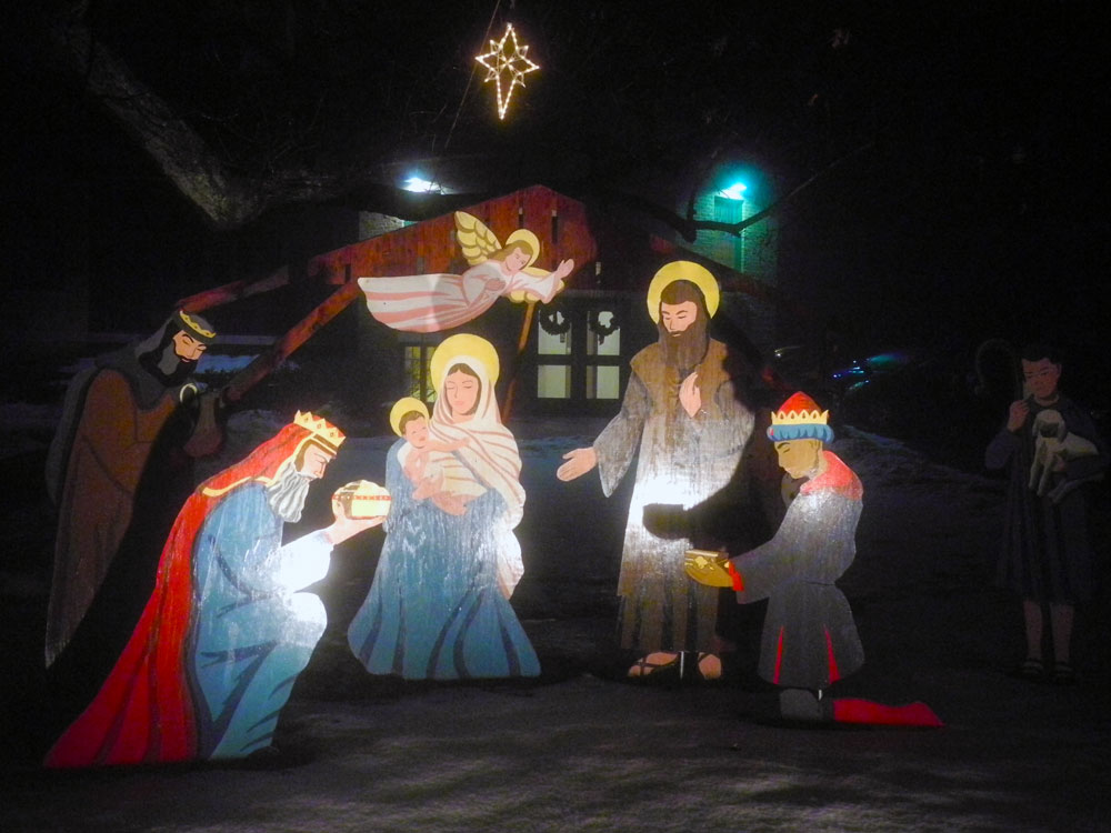 Nativity scene at Transfiguration Church on Culver Road
