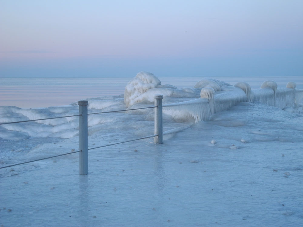 Frozen Charlotte pier in Rochester, New York