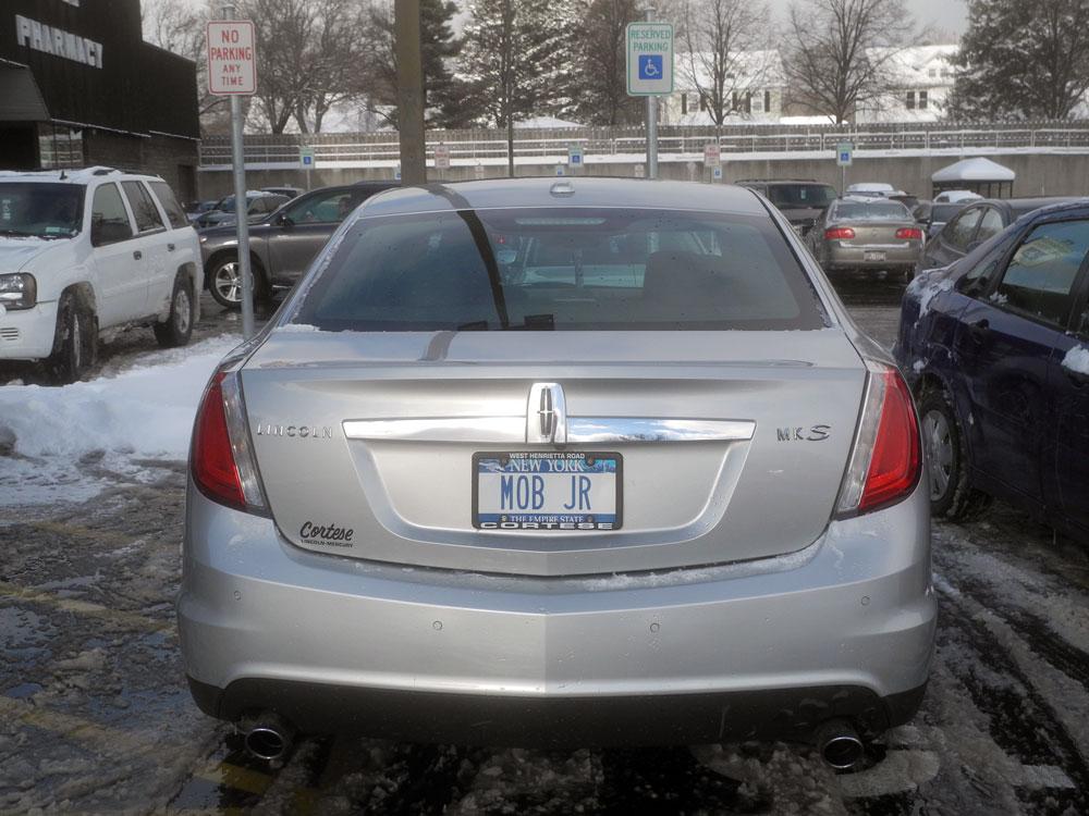 """Mob Jr"" license plates on car at Wegmans"