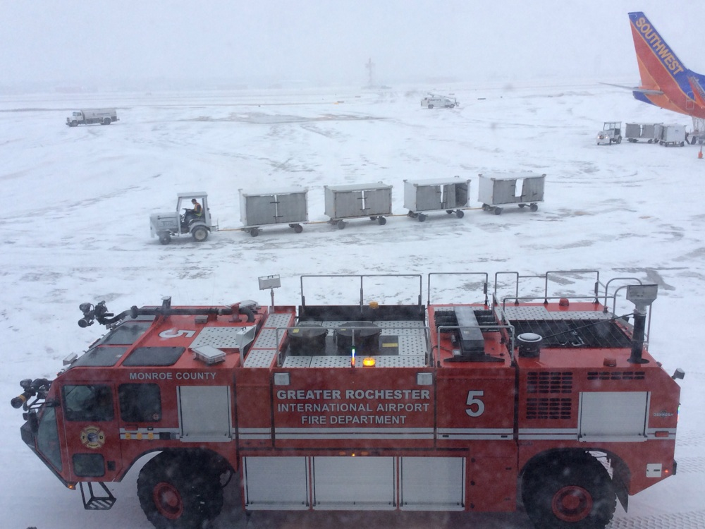 Rochester airport in dead of winter