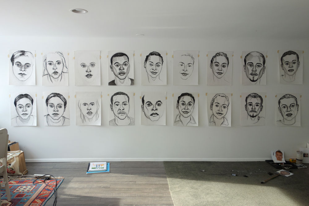 """Paul Dodd """"Homeless Kids"""" group shot in basement studio"""