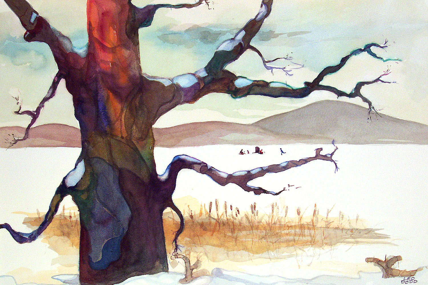 """Leo Dodd watercolor """"Mendon Ponds"""" in collection of Gary and Kathy Pudup"""