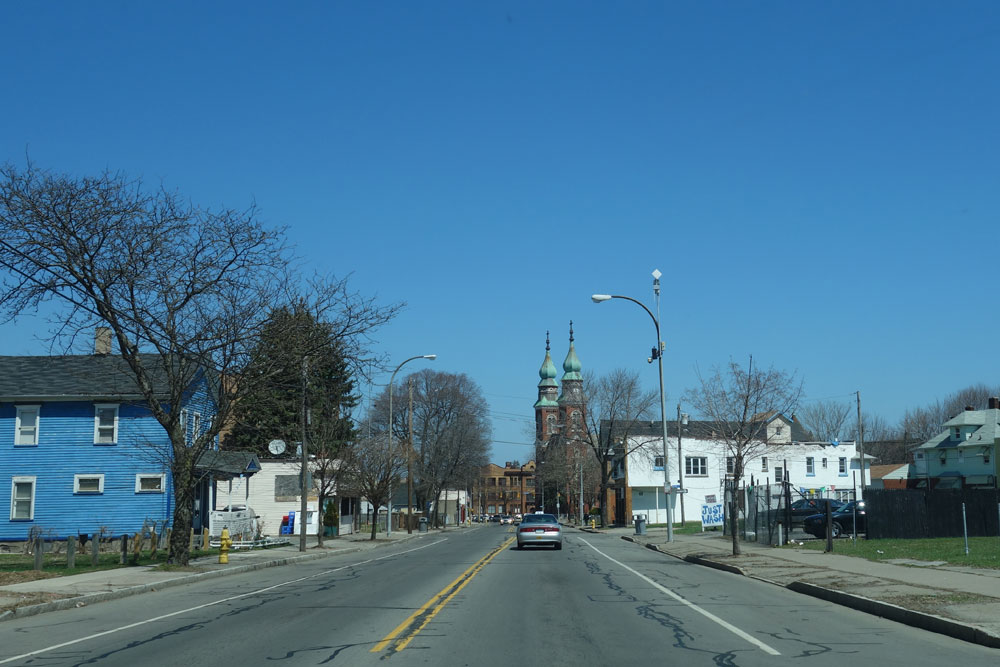 Driving north on Hudson Avenue in Rochester. New York