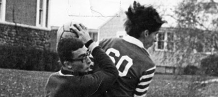 Paul Dodd, number 60, playing for Webter's RL Thomas,battles Gates Chili goalie in Sectional 5 final at Robert Wesleyan College in 1967