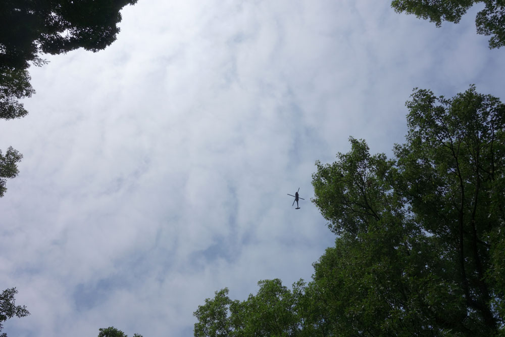 Helicopter over backyard. Rochester, New York