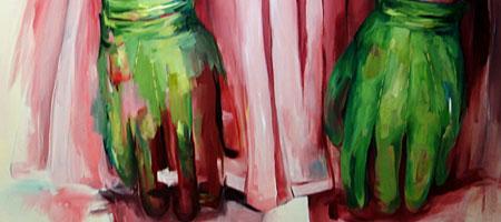 """Detail from Lynette K. Stephenson painting entitles """"Green Gloves"""""""
