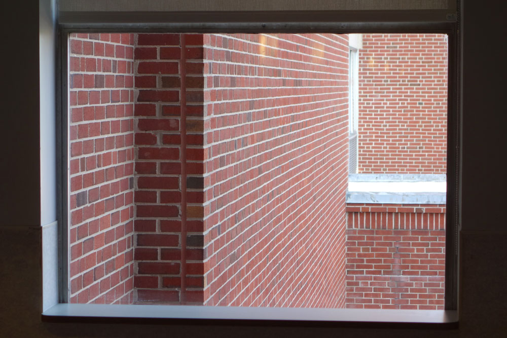 View of brick walls from Highland Hospital's fifth floor