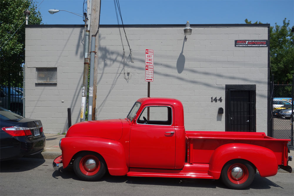 Red pick up truck near the Public Market in Rochester, New York