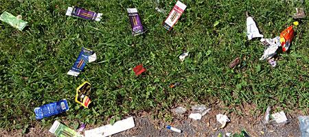 Drug trash near entrance to the Durand Eastman Park
