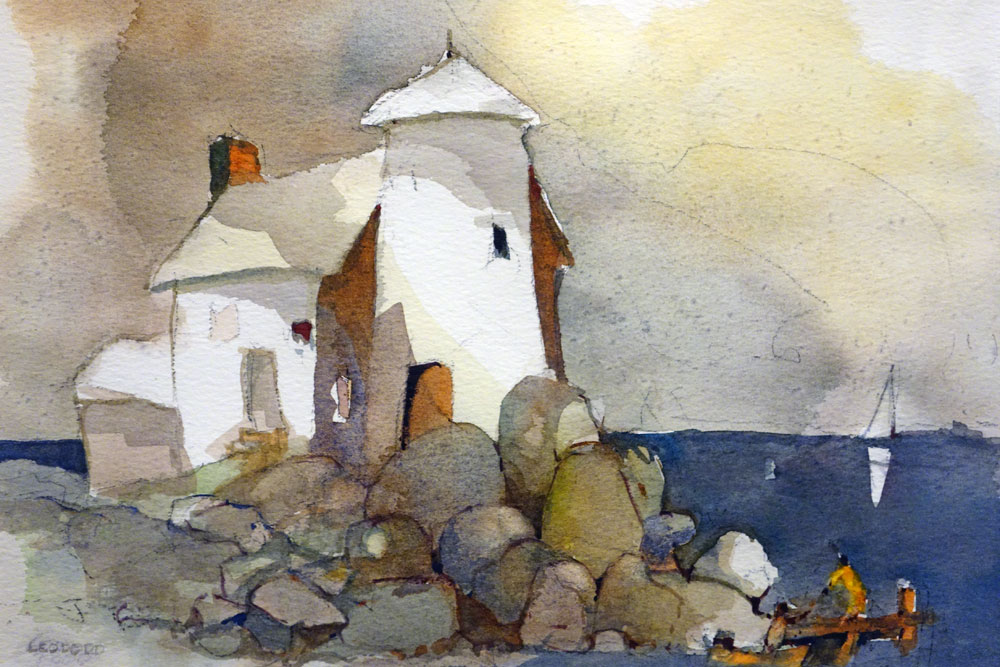 Leo Dodd Lighthouse painting in show at Creative Workshop in the Memorial Art Gallery