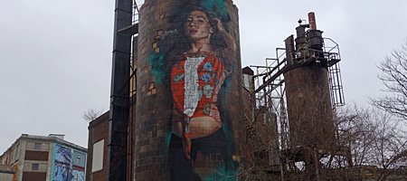 Mural on old water tower on East Main Street in Rochester, New York