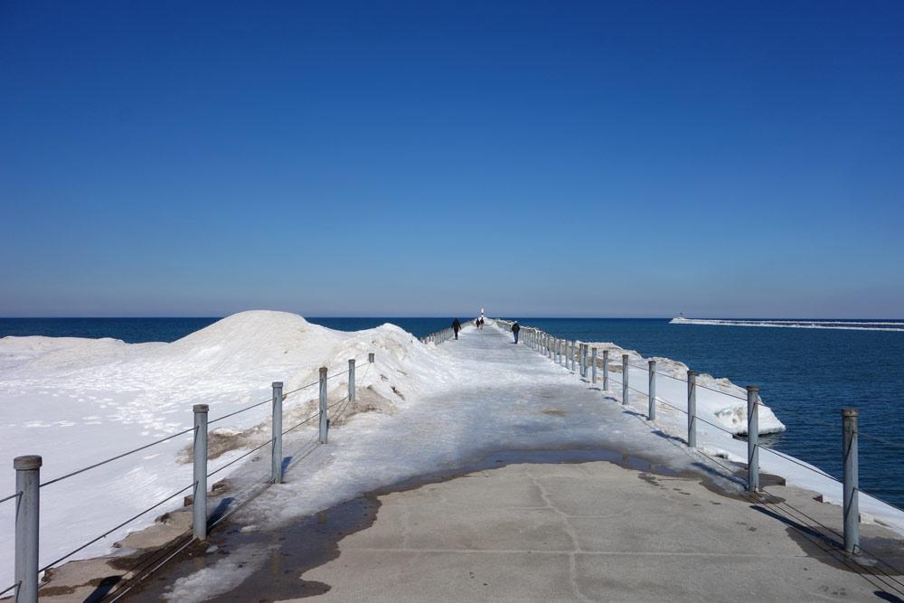 Charlotte pier in March, Winter 2015, Rochester, New York