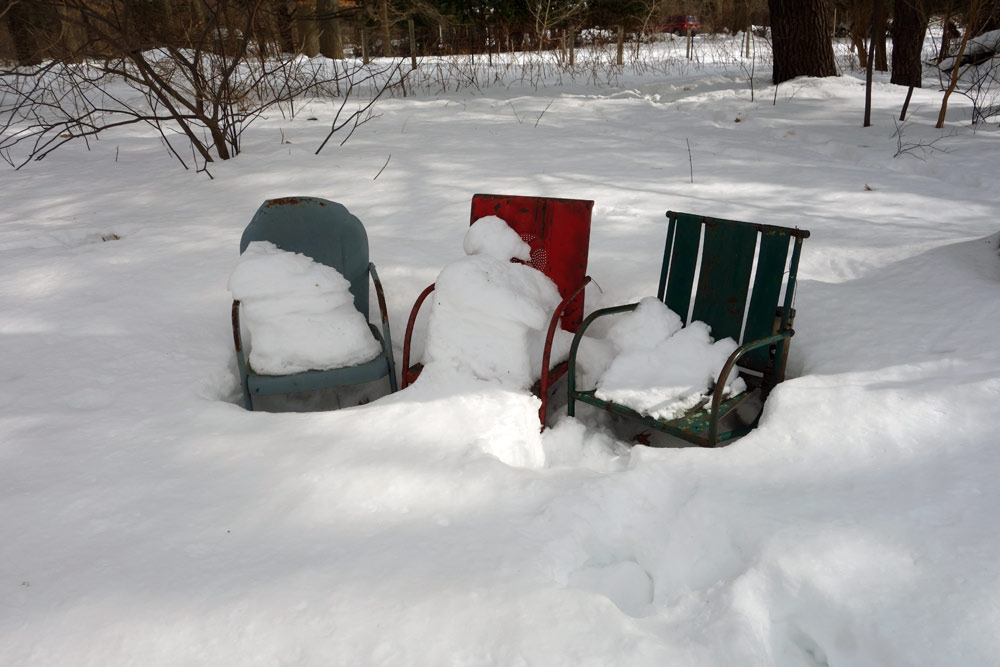 Three chairs in Jeff and Mary Kaye's yard