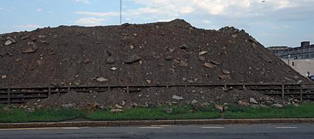 Huge pile of dirt for fill-in of the Inner Loop in Rochester, New York