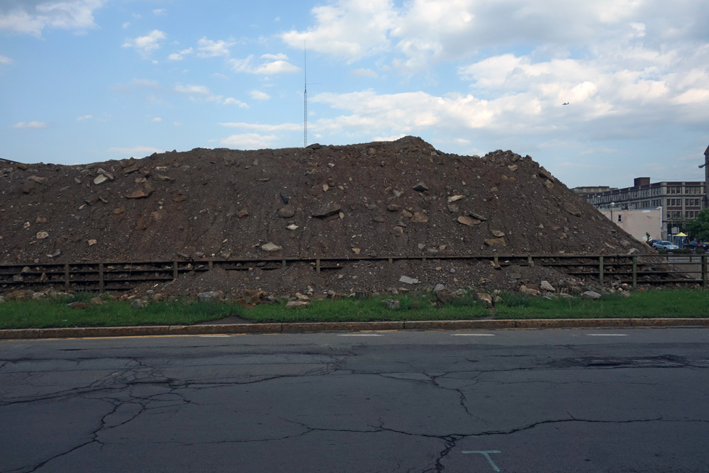 Huge pile of dirt for fill-in of the Inner Loop in Rochester, New York