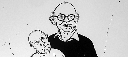 "Claes Oldenburg vs. Damien Hirst from Rick Hock ""Artist vs. Artist"" drawings at Rochester Contemporary"