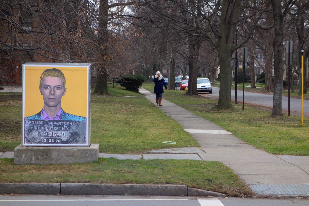 David Bowie poster on East Avenue in Rochester, New York