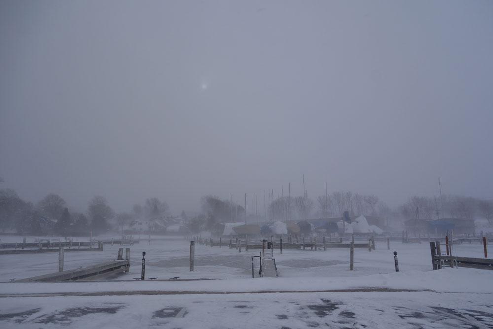 Rochester Yacht Club in below zero tempuratures