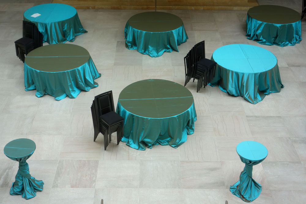 Tables set for an event at Art Gallery of Ontario