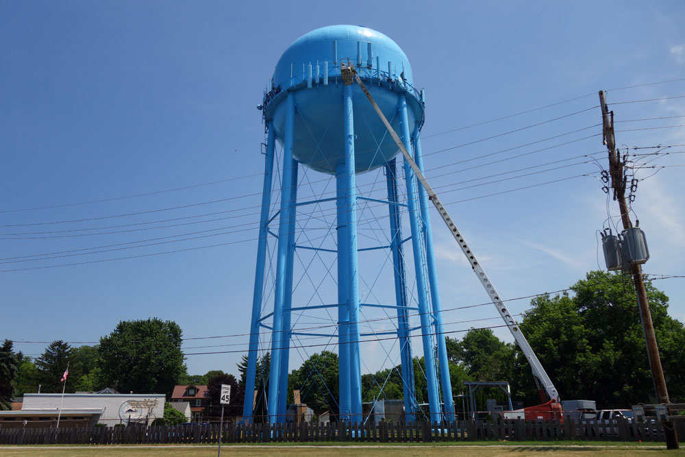Cell tower and water tower in Irondequoit, New York