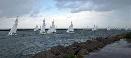 Sailboats from Summerville Pier in Rochester, New York