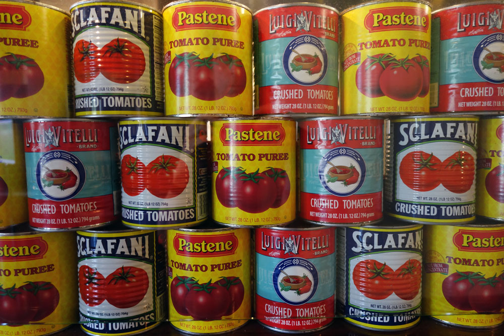 Tomato paste cans at I-Square in Rochester, New York