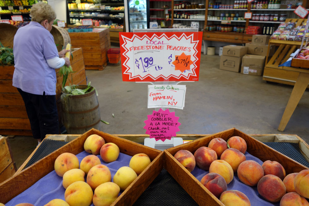 Local peaches at Aman's Market in Rochester, New York