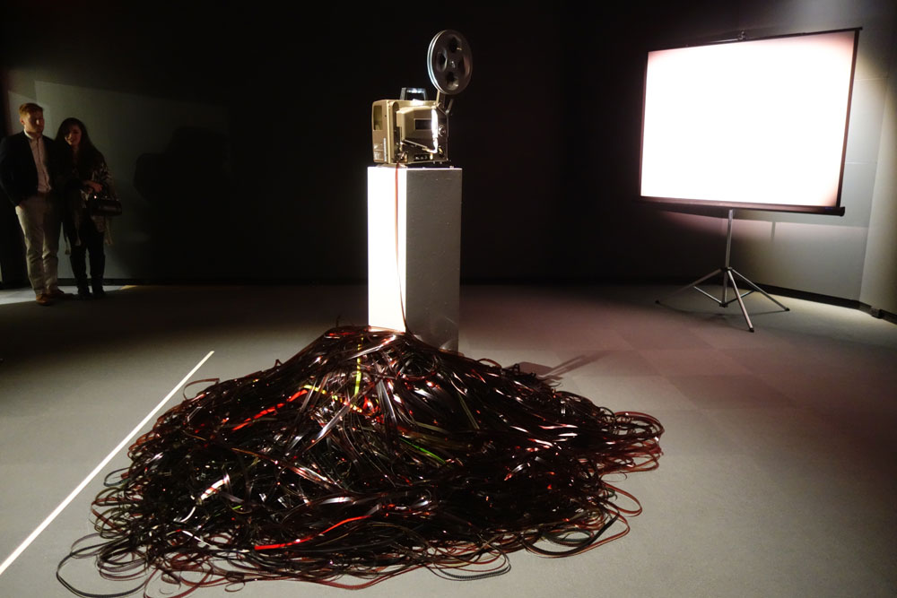 Light Spill, an installation by Sandra Gibson and Luis Recoder at the Memorial Art Gallery in Rochester, New York