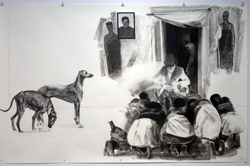 Meleko Mokgosi drawing from Democracy at RoCo