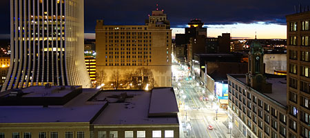 Old Lincoln First Building, revolving restaurant and Sibley's at night from PenthouseI at One East Avenue