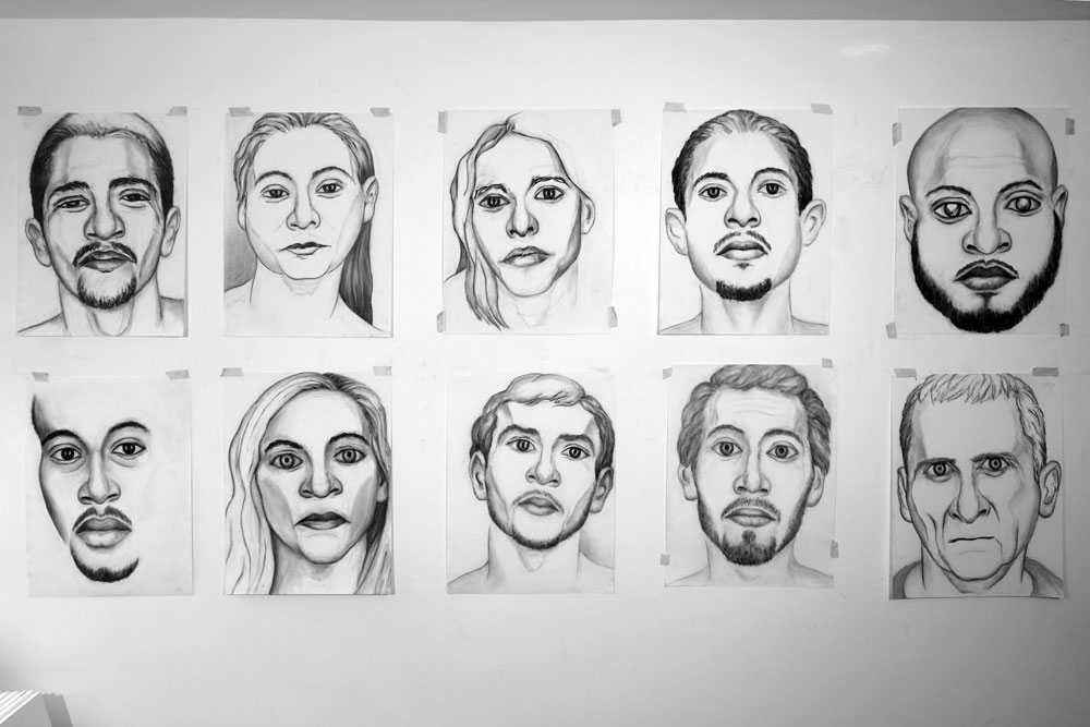 10 new Models from Crime Page on studio wall, June 2017