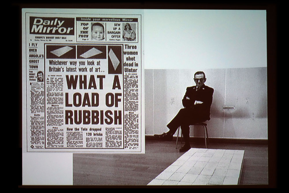 Daily Mirror headline for Tate purchase of Carl Andre piece from Minimal Mostly lecture slideshow at Memorial Art Gallery in Rochester, New York