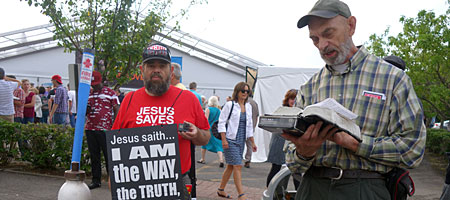 Jesus freaks with a camera downtown Rochester, New York