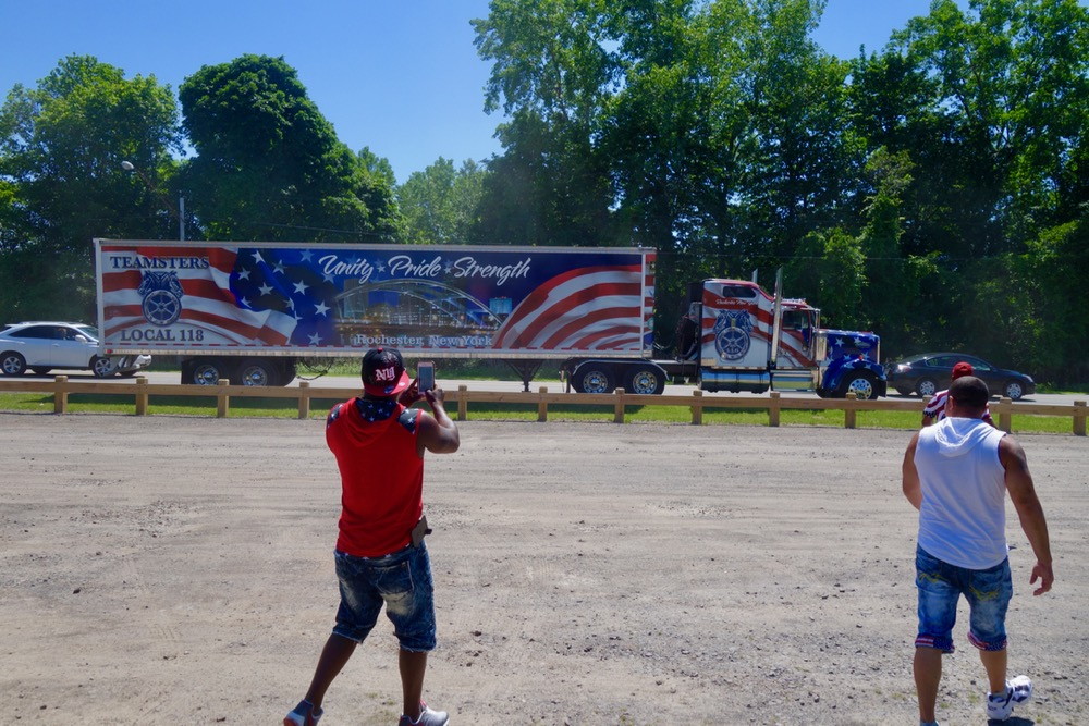 Teamster truck and fans at Durand Eastman Beach on 4th of July