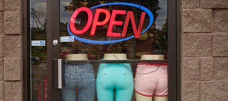 1111 East Main Street store window, Rochester, New York